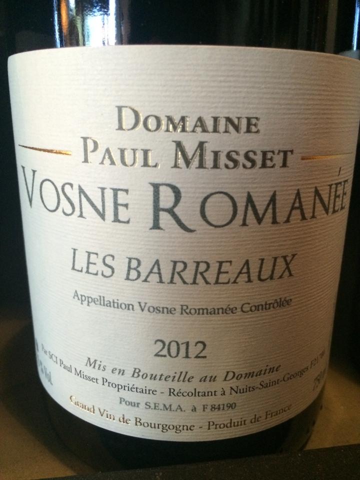 Domaine Paul Misset - Les Barreaux - 2012 - Rouge
