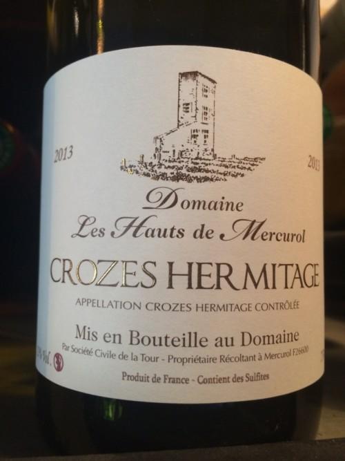Domaine les Hauts de Mercurol - Crozes Hermitage 2013 - Rouge